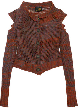 Vivienne Westwood Anglomania - Cropped Cutout Wool-blend Cardigan - Orange