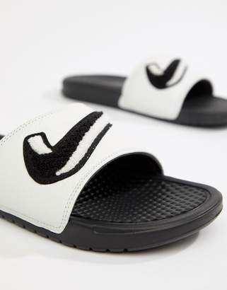 Nike Benassi JDI Chenille Sliders In White AO2805-001