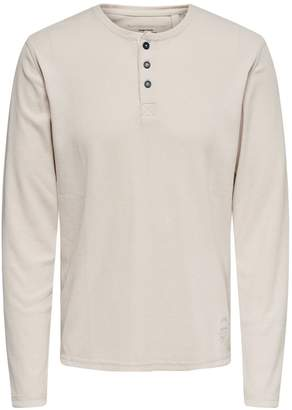 ONLY & SONS Long-Sleeve Cotton Henley