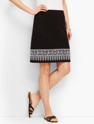 Talbots Embroidered Knit A-Line Skirt