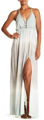 AAKAA V-Neck Side Slit Maxi Dress