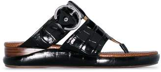 Chloé black Wave crocodile-effect leather sandals