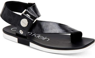 aaad1288ddcc Calvin Klein Black Flat Women s Sandals - ShopStyle