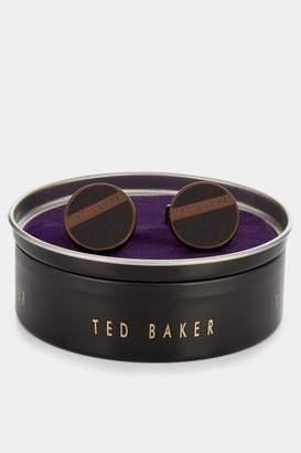 Ted Baker Chocolate Embossed Enamel Fan Cufflinks