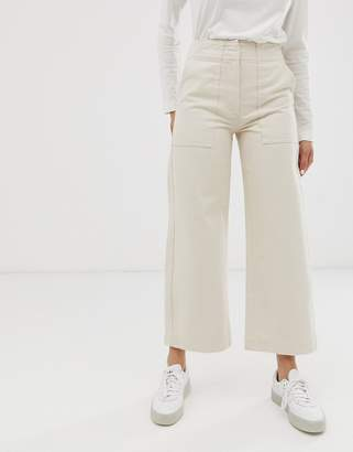 Asos Design DESIGN Cropped wide leg carpenter jeans with contrast stitch in ecru