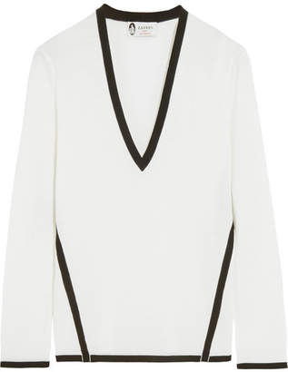 Lanvin - Two-tone Wool Sweater - Ivory $895 thestylecure.com