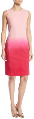 Oscar de la Renta Sleeveless Jewel-Neck Dip-Dye Ombre Sheath Dress