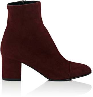 Barneys New York Women's Cap-Toe Suede Ankle Boots-BURGUNDY $395 thestylecure.com