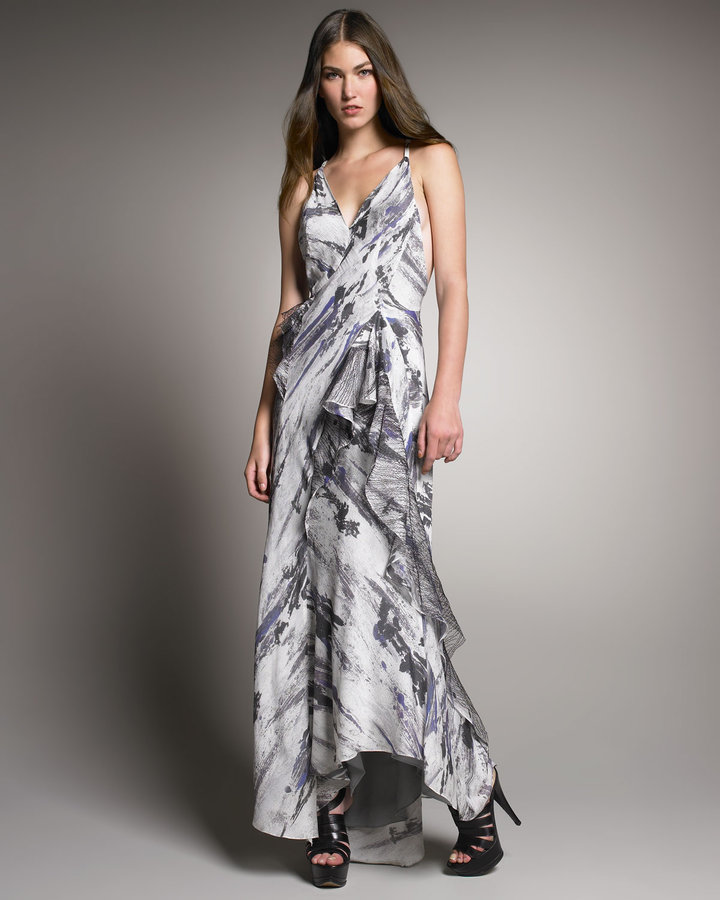 Theyskens' Theory Abstract-Print Maxi Dress