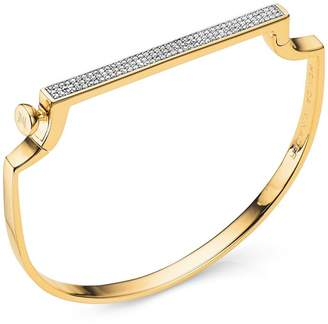 Monica Vinader Gold-Plated Signature Thin Diamond Bangle