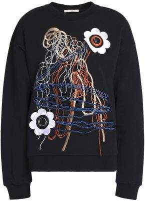 Christopher Kane Floral-Appliquéd Embroidered Cotton-Blend Terry Sweatshirt
