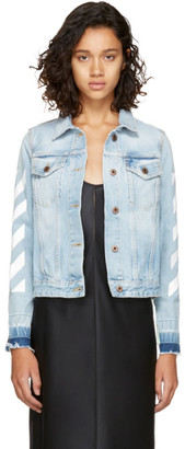 Off-White Blue Denim Diagonal Jacket $630 thestylecure.com