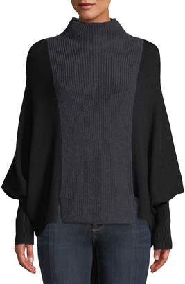 Elie Tahari Dorita High-Neck Blouson-Sleeve Colorblocked Merino Sweater