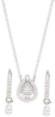 Swarovski Silvertone Crystal Teardrop Pendant & Hoop-Drop Earrings Set