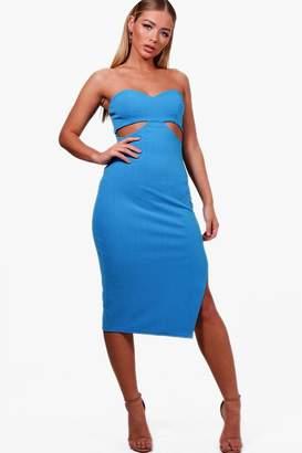 boohoo Bandeau Cut Out Detail Midi Dress