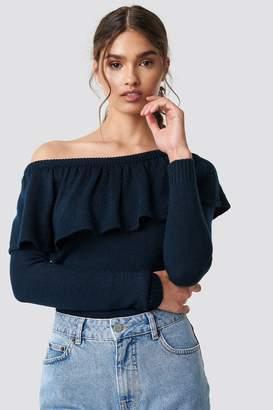 Na Kd Boho One Shoulder Flounce Knitted Sweater