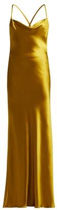 Galvan - Whiteley Bias Cut Silk Satin Dress - Womens - Green