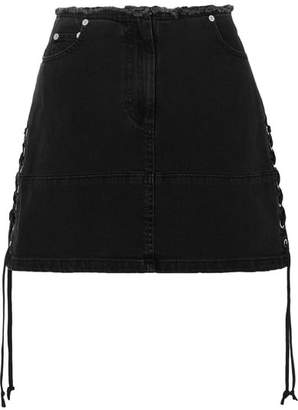 McQ Lace-up Denim Mini Skirt - Black