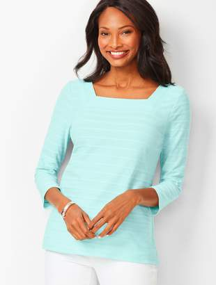 e12fd949c1 Talbots Textured Square-Neck Tee - Solid Jacquard
