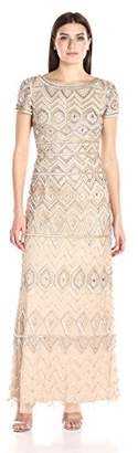 Adrianna Papell Women's Short Sleeve Long Beaded Embellished Gown,4