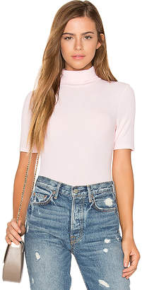 three dots Short Sleeve Turtleneck Top in Pink $68 thestylecure.com