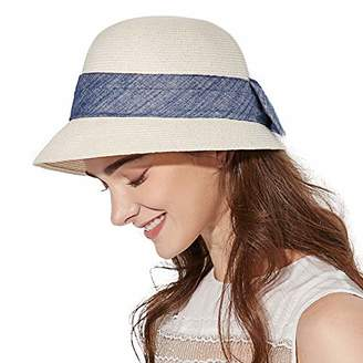 Cloche Jeff & Aimy Ladies Summer Straw Sun Hats SPF50+ Beach Hat Crushable Bucket Hat 56-59cm White