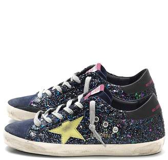 Golden Goose Superstar Sneaker in Disco Glitter/Green Star