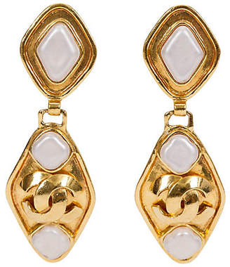 One Kings Lane Vintage Chanel Gold & Gripoix Drop Earrings - Vintage Lux