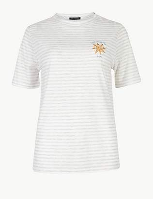 Marks and Spencer Striped Round Neck Embroidered Motif T-Shirt