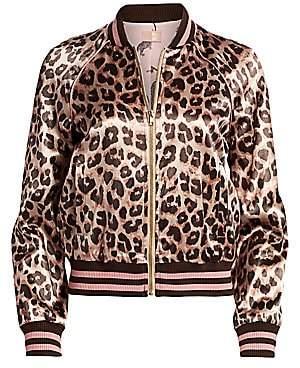 Mother Women's Letterman Leopard-Print Satin Bomber Jacket