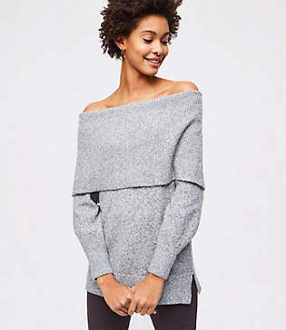 LOFT Petite Foldover Off The Shoulder Sweater