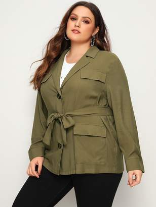 Shein Plus Notch Collar Flap Pocket Front Coat