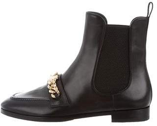 Louis Vuitton Leather Chain-Link Ankle Boots