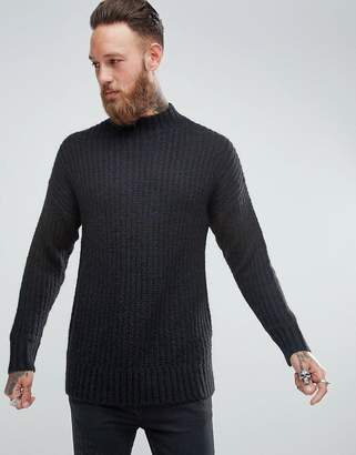 Asos Mohair Wool Blend Turtle Neck Jumper In Black