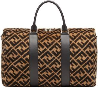 Fendi shearling logo holdall bag
