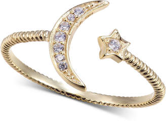 Unwritten Cubic Zirconia Moon & Star Ring in Gold-Tone Sterling Silver