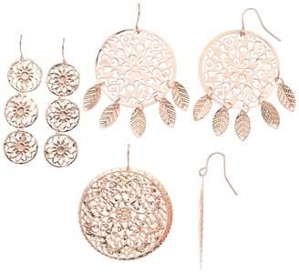 Mudd Rose Gold Filigree Stamped Earring Set