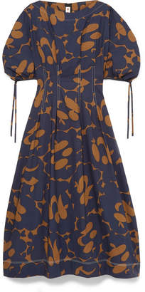 Marni Floral-print Cotton-poplin Midi Dress - Navy