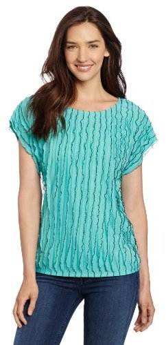 Amy Byer Women's Fashion Ruffle Tee With Color Edge