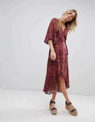 MinkPink Leopard Print Wrap Maxi Dress With Flutter Sleeves