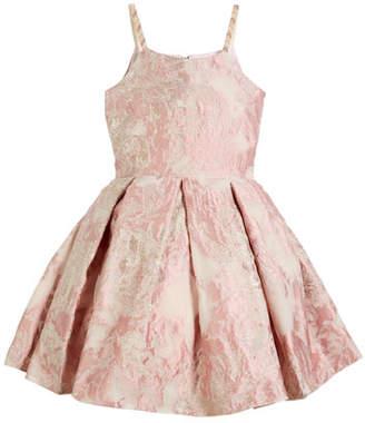 Zoe Vintage Metallic Burnout Brocade Dress w/ Jeweled Straps, Size 2-6X