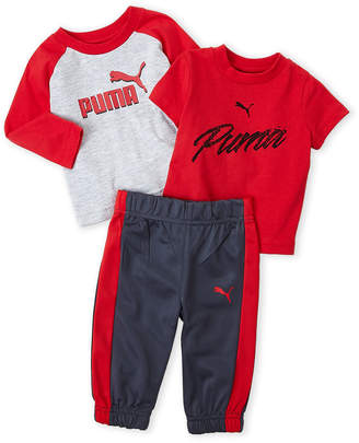 Puma Newborn Boys) 3-Piece Logo Tee & Pants Set
