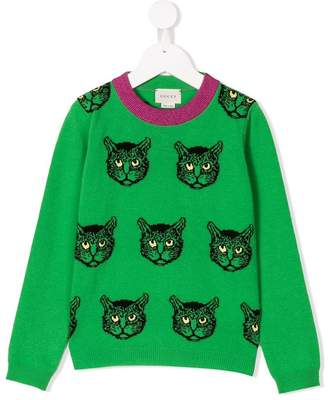 Gucci Kids angry cat intarsia jumper