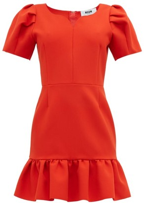 MSGM Sweetheart Neckline Crepe Mini Dress - Womens - Red