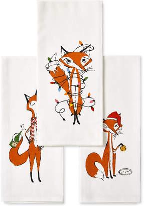 Kate Spade 3-Pc. Festive Foxes Kitchen Towel Set