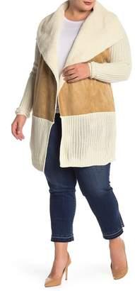 RDI Faux Shearling Lined Shawl Sweater (Plus Size)