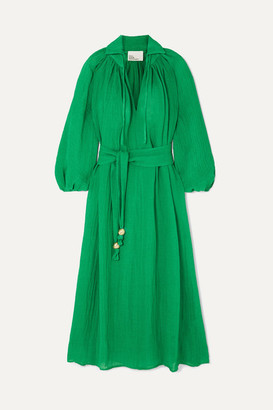 Lisa Marie Fernandez Poet Belted Linen-blend Maxi Dress - Green
