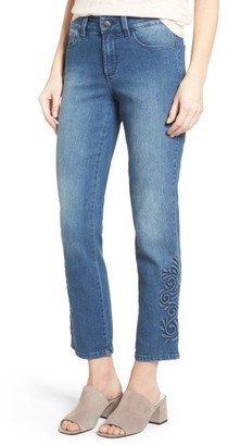 Women's Nydj Ira Embroidered Relaxed Ankle Jeans $158 thestylecure.com