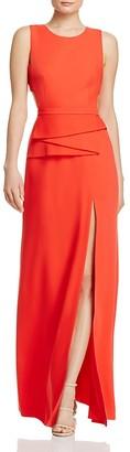 BCBGMAXAZRIA Peplum Cutout-Back Gown $398 thestylecure.com