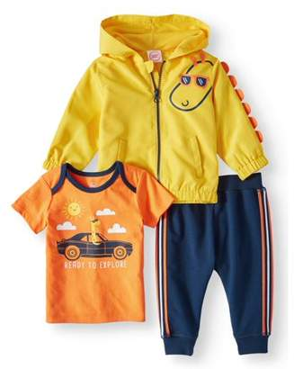 Wonder Nation Windbreaker Jacket, Short Sleeve T-shirt & Jogger Pants, 3pc Outfit Set (Baby Boys)